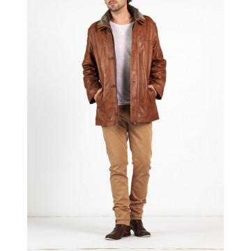 Augustino designer luxury leather coat by hElium