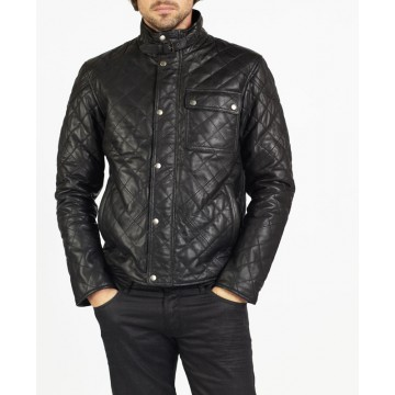 Roberto Diamond Quilted Leather Jacket by hElium