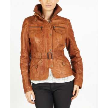 Carina quality designer biker leather jacket by hElium