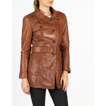 Gabriella classic designer leather coat by hElium