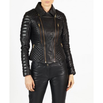 Angelina hELium Women Fashion Biker Leather Jacket