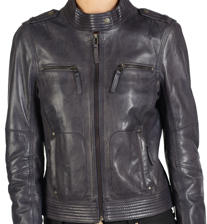Tania hELium Women Classic Leather Biker Jacket hE^2