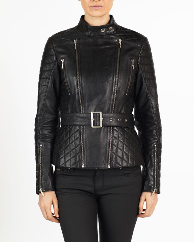 Dalia Women Designer hELium Biker Leather Jacket hE^2