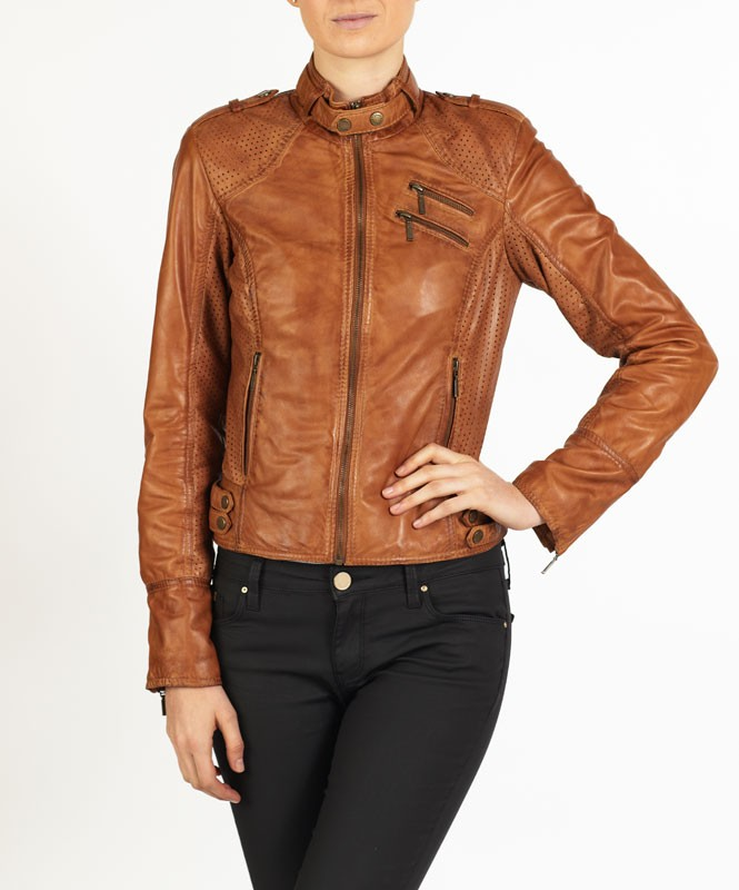 Fiorella Retro styled leather jacket by hElium hE 2 5cb156a06d