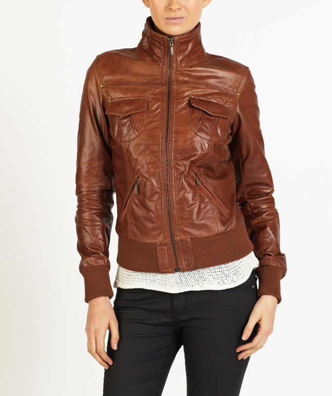Fabiola Women Smart Bomber Leather Jacket by hELium hE^2