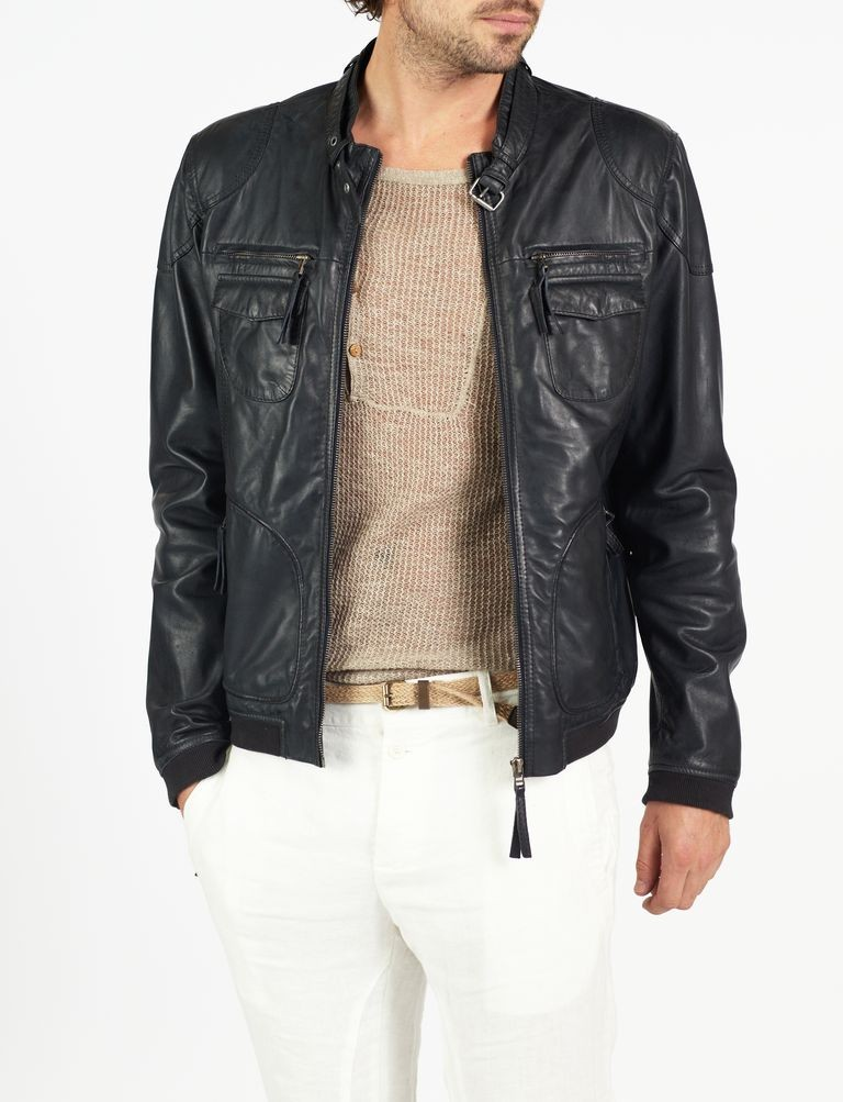 eb4a3aee9 Nino classic bomber and biker leather jacket by hElium hE^2