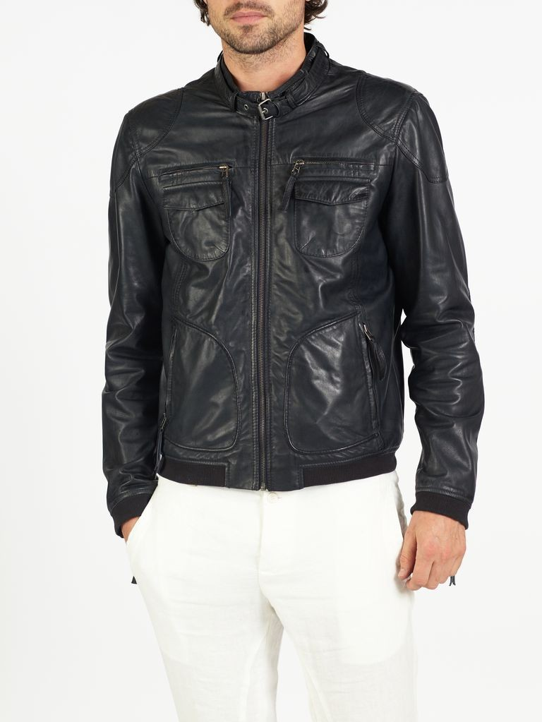 Nino classic bomber and biker leather jacket by hElium hE^2
