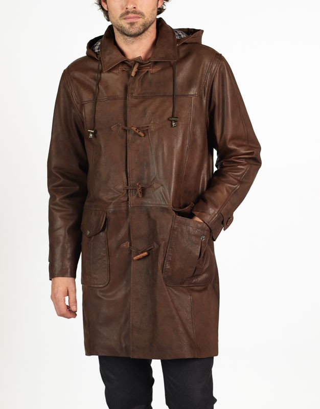 Marco leather duffle coat by hElium hE^2
