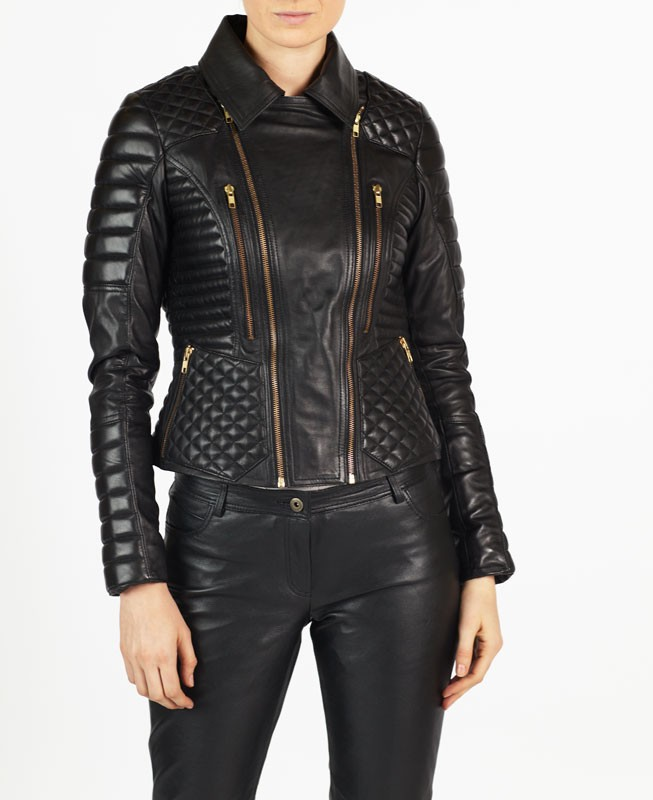 Angelina hELium Women Fashion Biker Leather Jacket hE^2