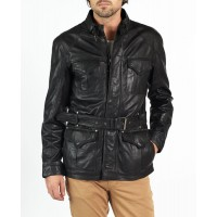 Tito elegant safari style leather jacket by hElium