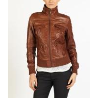 Fabiola Women Smart Bomber Leather Jacket by hELium